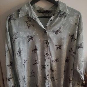 Zara blouse with little birds